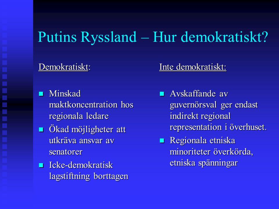 Putins Ryssland – Hur demokratiskt? Demokratiskt: Minskad maktkoncentration hos regionala ledare Minskad maktkoncentration hos regionala ledare Ökad m