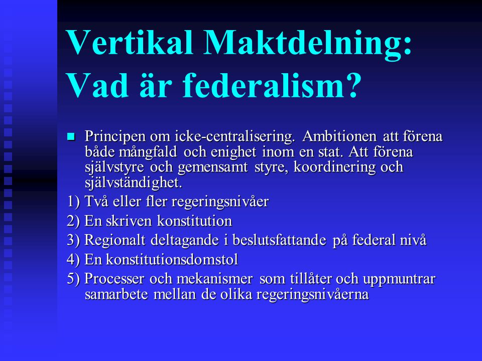 Rysk federalism under Jeltsin 1991-1999 Jeltsin: ta så mycket makt ni klarar av Decentralisering/acentralisering Decentralisering/acentralisering De jure asymmetri De jure asymmetri Federationsavtalet (mars 1992) 'The republics of the Russian Federation hold full state power (legislative, executive, and judicial) on their territory, except those jurisdictions handed over (transferred) to federal organs of state power in accordance with this treaty' (Federal Treaty, Article III:1).