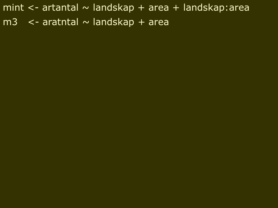 mint <- artantal ~ landskap + area + landskap:area m3 <- aratntal ~ landskap + area