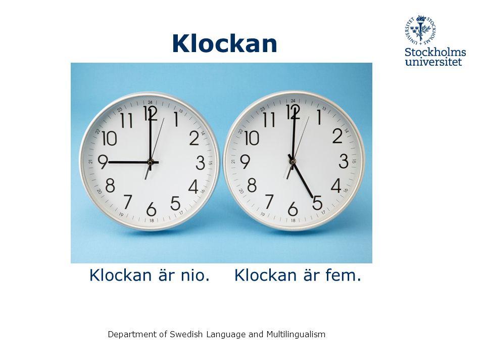 Department of Swedish Language and Multilingualism Word order Idag Imorgon I övermorgon Igår I förrgår är det måndag.