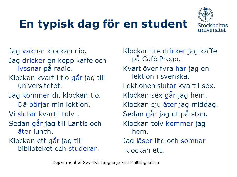 Department of Swedish Language and Multilingualism Ordföljd – Word order XVerbSubjektObjektAdverbial Detär - måndag i dag.