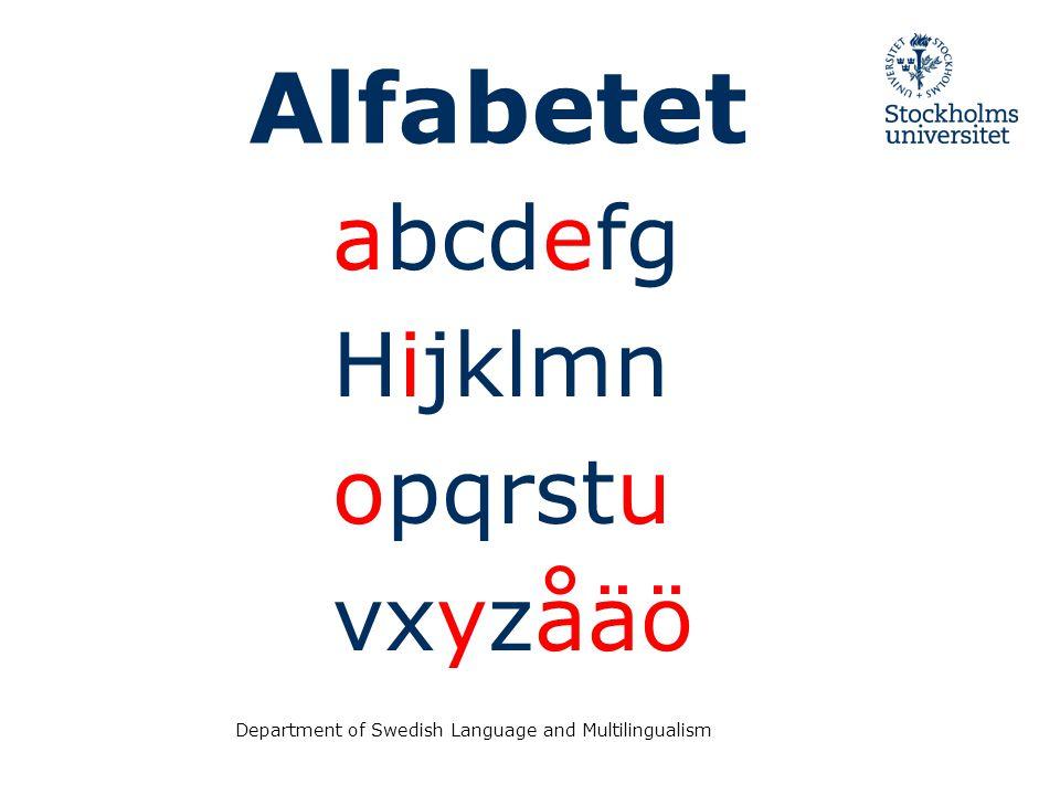 Department of Swedish Language and Multilingualism Alfabetet abcdefg Hijklmn opqrstu vxyzåäö