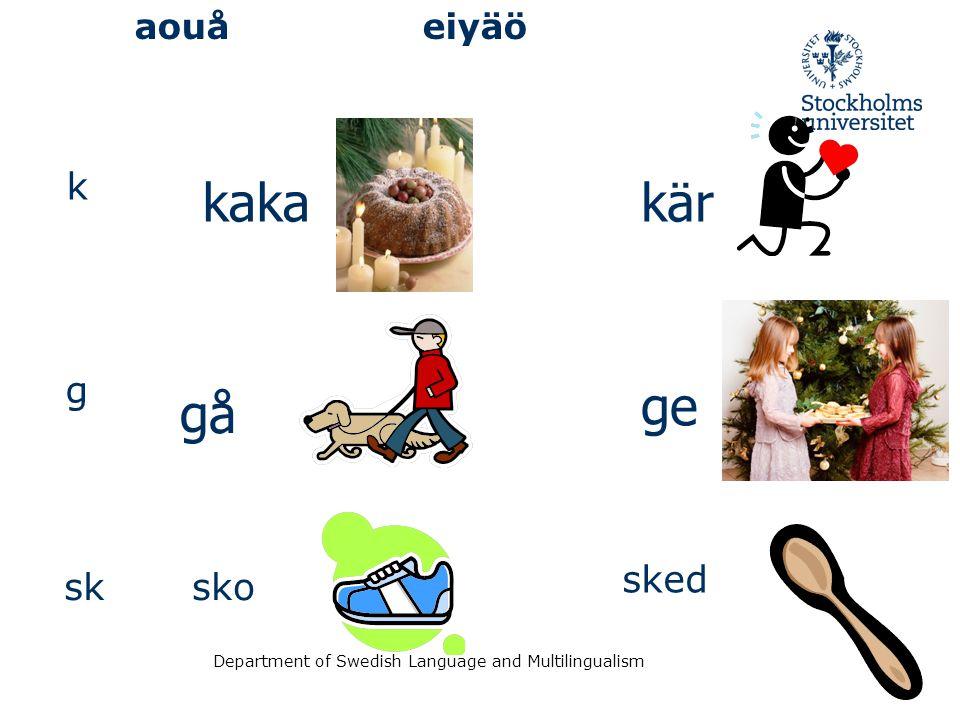 Department of Swedish Language and Multilingualism aouåeiyäö k kakakär g gå ge sksko sked