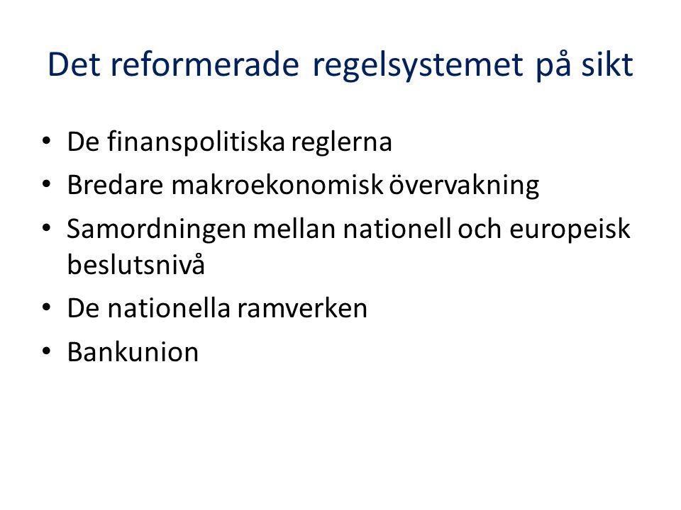 Det reformerade regelsystemet på sikt De finanspolitiska reglerna Bredare makroekonomisk övervakning Samordningen mellan nationell och europeisk beslutsnivå De nationella ramverken Bankunion