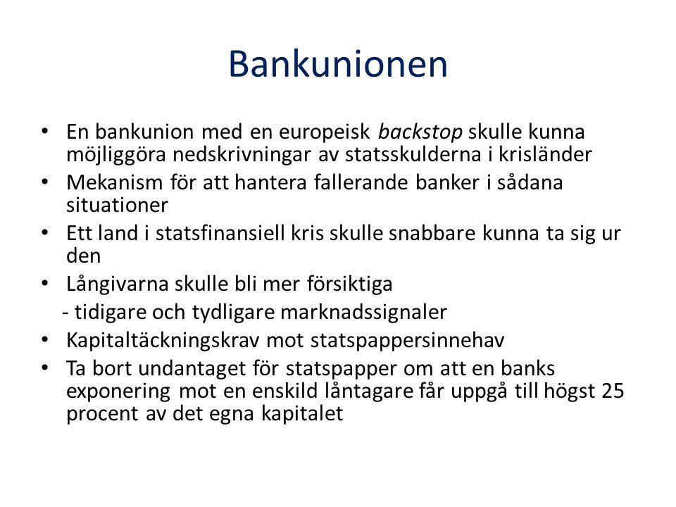 Bankunionen En bankunion med en europeisk backstop skulle kunna möjliggöra nedskrivningar av statsskulderna i krisländer Mekanism för att hantera fallerande banker i sådana situationer Ett land i statsfinansiell kris skulle snabbare kunna ta sig ur den Långivarna skulle bli mer försiktiga - tidigare och tydligare marknadssignaler Kapitaltäckningskrav mot statspappersinnehav Ta bort undantaget för statspapper om att en banks exponering mot en enskild låntagare får uppgå till högst 25 procent av det egna kapitalet