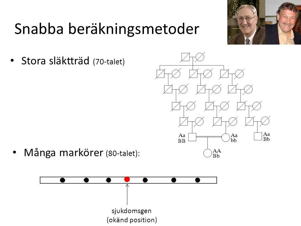 Snabba beräkningsmetoder Stora släktträd (70-talet) Många markörer (80-talet): sjukdomsgen (okänd position)