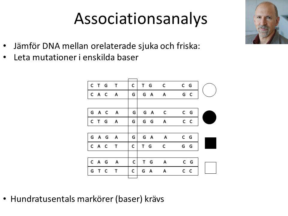 Associationsanalys Jämför DNA mellan orelaterade sjuka och friska: Leta mutationer i enskilda baser Hundratusentals markörer (baser) krävs