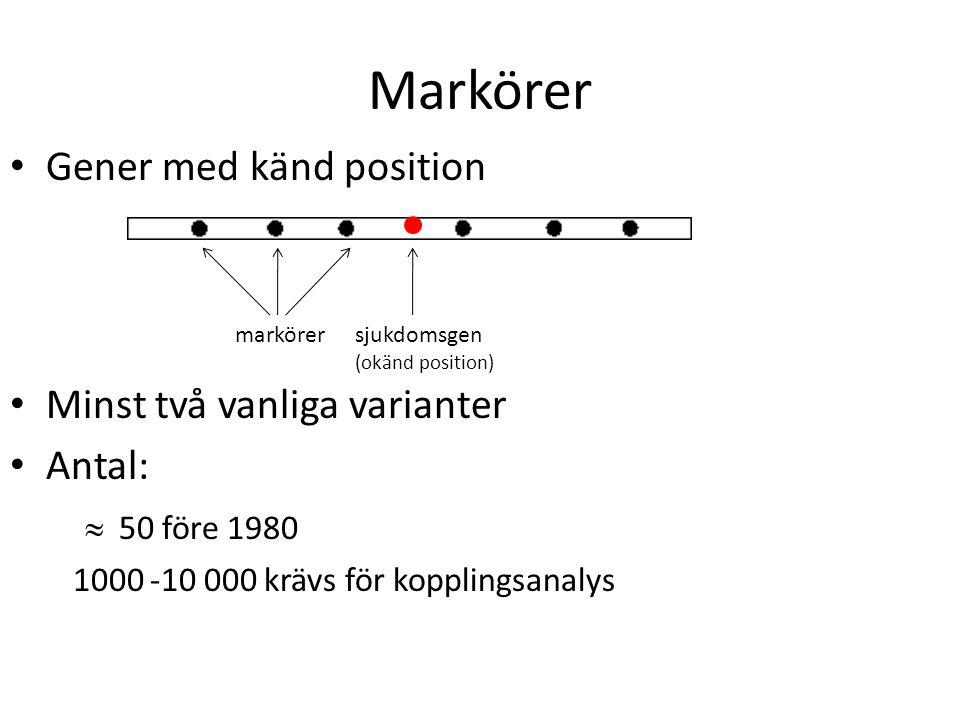 Markörer Gener med känd position Minst två vanliga varianter Antal:  50 före 1980 1000 -10 000 krävs för kopplingsanalys sjukdomsgen (okänd position)