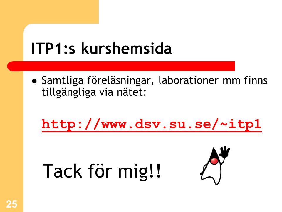 25 ITP1:s kurshemsida Samtliga föreläsningar, laborationer mm finns tillgängliga via nätet: http://www.dsv.su.se/~itp1 Tack för mig!!