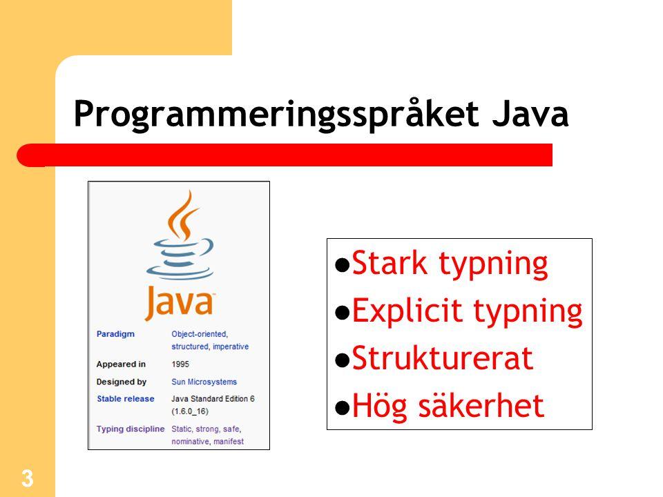 14 Klasspecifikationer Specifikationer av Javas färdiga klasser: http://java.sun.com/javase/6/docs/api/index.html API = Application Programmable Interface Två andra länkar med information om Java: http://java.sun.com/ http://www.javaworld.com