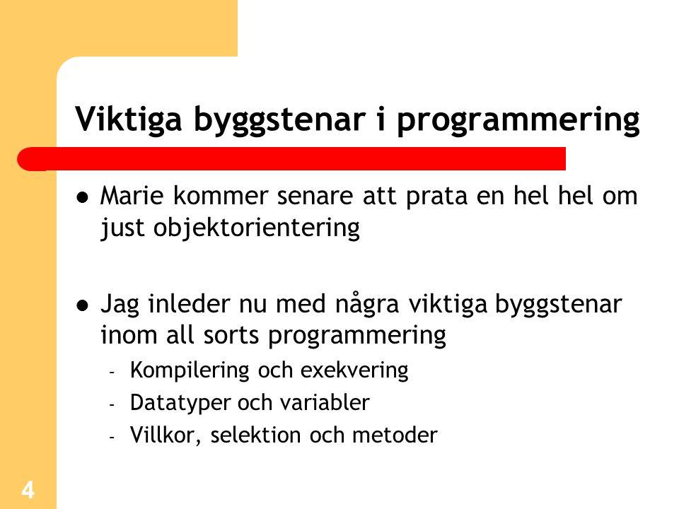 5 Kompilering och exekvering Koden för ett program sparas i en fil i en katalog med namnet Program.java Källkoden kompileras sedan genom: C:\katalog> javac Program.java Om koden är utan fel skapas en klassfil: Program.class som kan exekveras med: C:\katalog> java Program