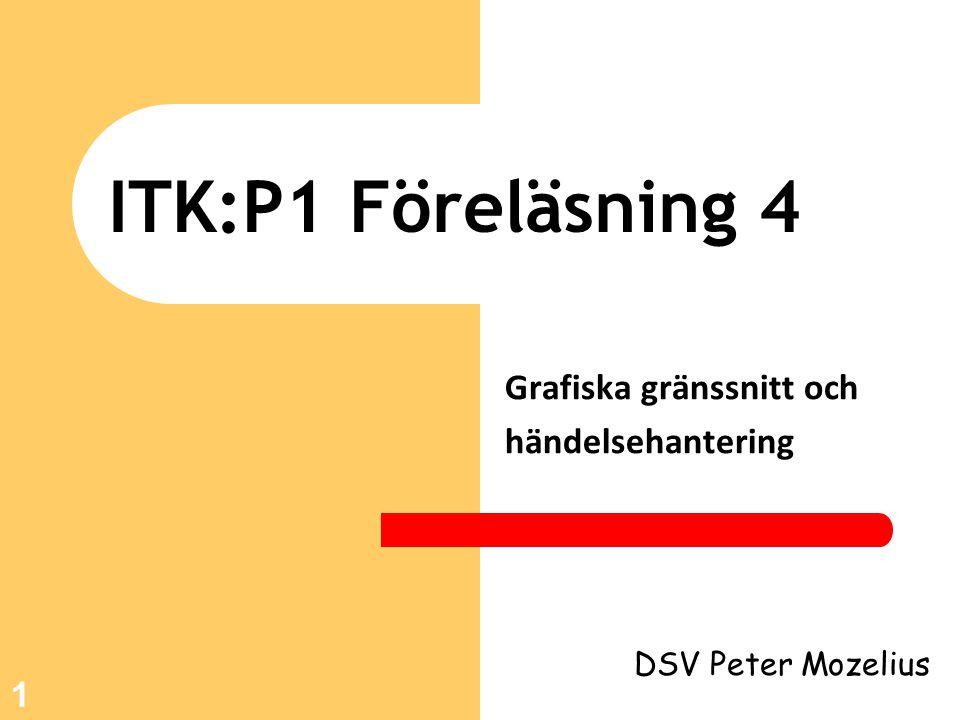 22 Kodexempel 2 public void actionPerformed(ActionEvent e){ sydEtikett.setText( Hallå ITK! ); }//actionPerformed public static void main(String[] args) { new F4_exempel2(); } }//F4_exempel2