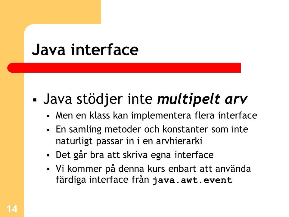 14 Java interface  Java stödjer inte multipelt arv  Men en klass kan implementera flera interface  En samling metoder och konstanter som inte natur