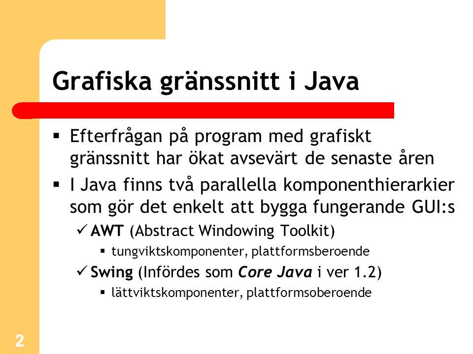 3 AWT-komponenter  Abstract Windowing Toolkit  De grafiska komponenter som funnits med sedan den allra första versionen av Java  Tungviktskomponenter som samarbetar med operativsystemet där applikationen körs  En knapp t ex ser därför annorlunda ut när koden körs i Linux än den gör i Windows  Gemensamma basklass är Component