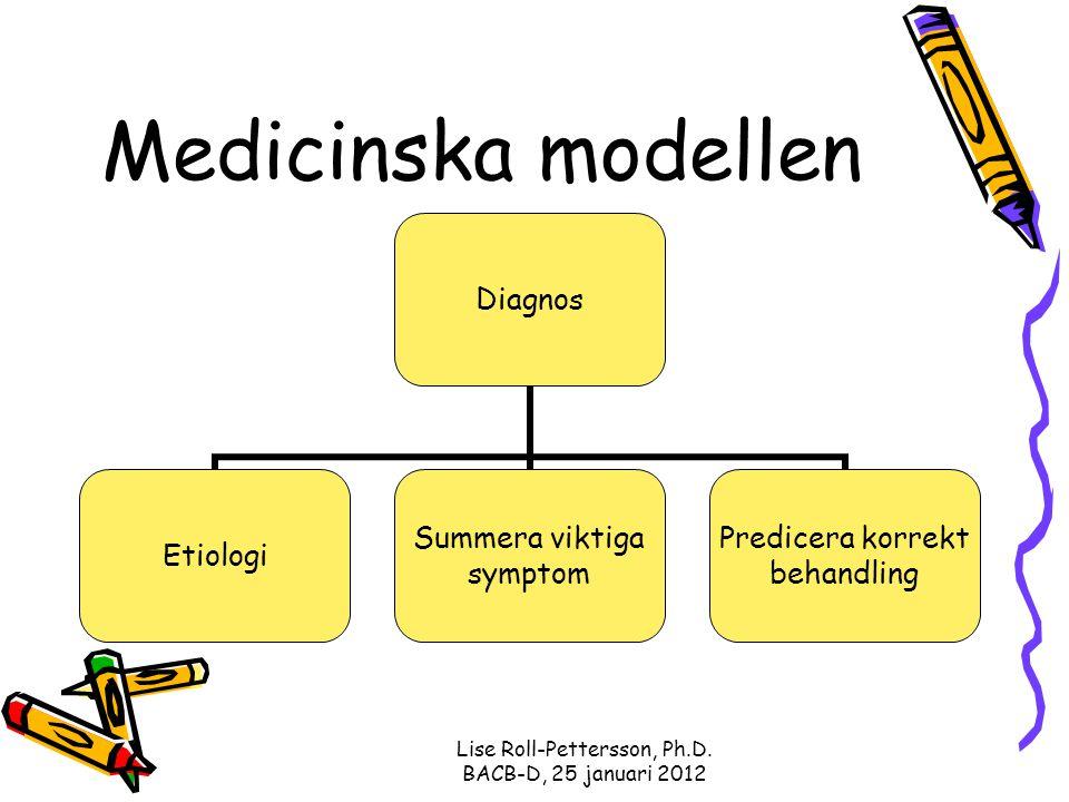 Lise Roll-Pettersson, Ph.D. BACB-D, 25 januari 2012 Medicinska modellen Diagnos Etiologi Summera viktiga symptom Predicera korrekt behandling