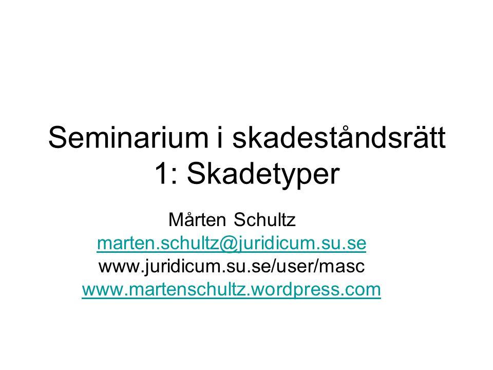 Seminarium i skadeståndsrätt 1: Skadetyper Mårten Schultz marten.schultz@juridicum.su.se www.juridicum.su.se/user/masc www.martenschultz.wordpress.com