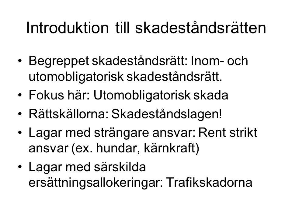 Ersättning för ideell skada Gammal huvudregel i svensk rätt: Ersättning för ideell skada utgår bara om det finns särskilt lagstöd.