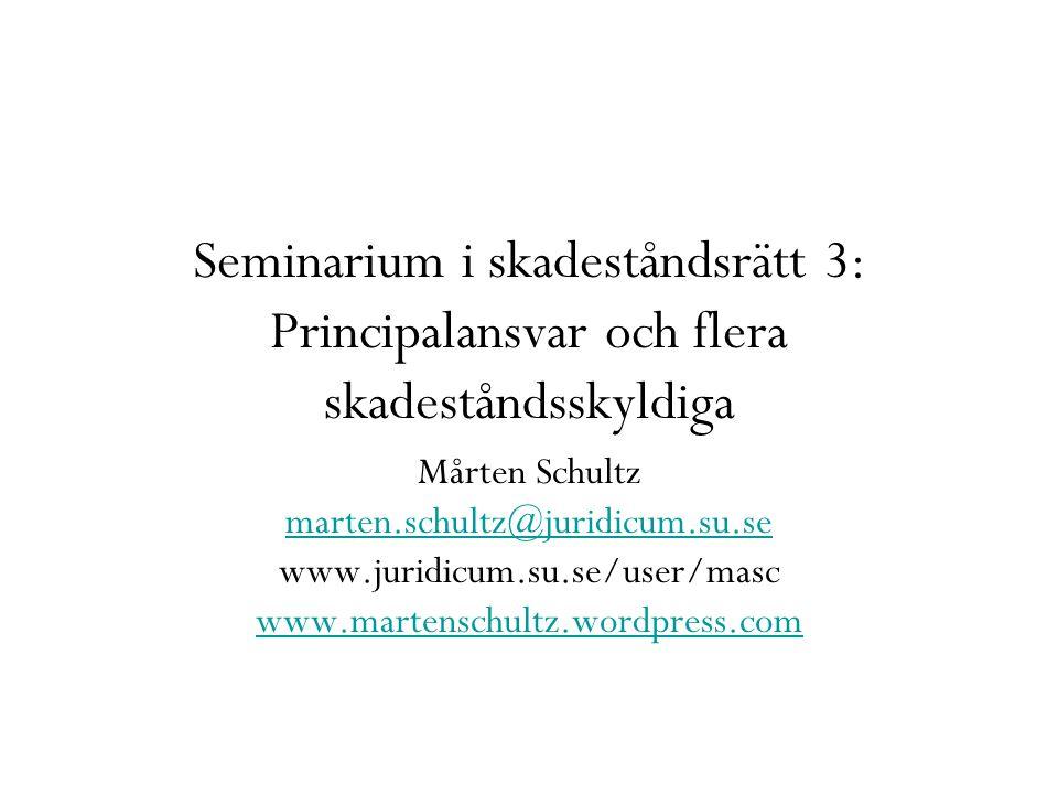 Seminarium i skadeståndsrätt 3: Principalansvar och flera skadeståndsskyldiga Mårten Schultz marten.schultz@juridicum.su.se www.juridicum.su.se/user/m