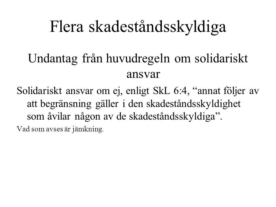 """Flera skadeståndsskyldiga Undantag från huvudregeln om solidariskt ansvar Solidariskt ansvar om ej, enligt SkL 6:4, """"annat följer av att begränsning g"""