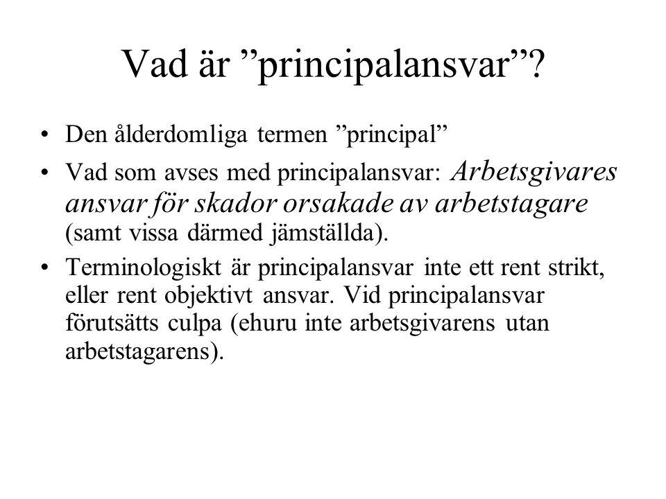 """Vad är """"principalansvar""""? Den ålderdomliga termen """"principal"""" Vad som avses med principalansvar: Arbetsgivares ansvar för skador orsakade av arbetstag"""