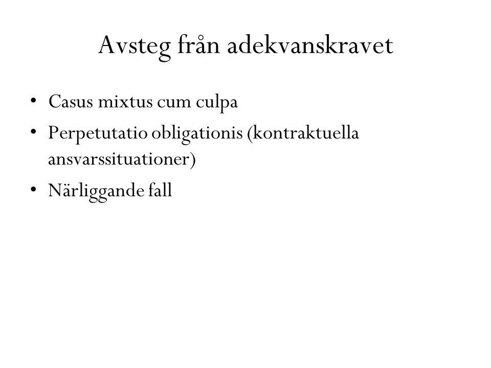 Avsteg från adekvanskravet Casus mixtus cum culpa Perpetutatio obligationis (kontraktuella ansvarssituationer) Närliggande fall