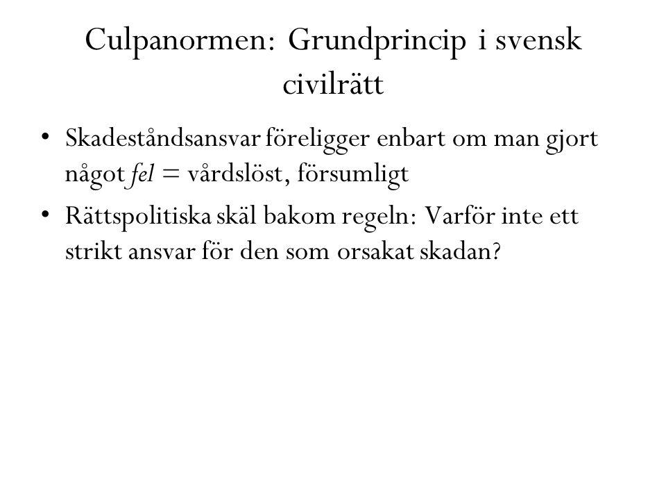 Culpanormen: Grundprincip i svensk civilrätt Skadeståndsansvar föreligger enbart om man gjort något fel = vårdslöst, försumligt Rättspolitiska skäl ba