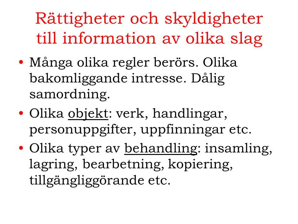 Rättigheter och skyldigheter till information av olika slag Många olika regler berörs. Olika bakomliggande intresse. Dålig samordning. Olika objekt: v