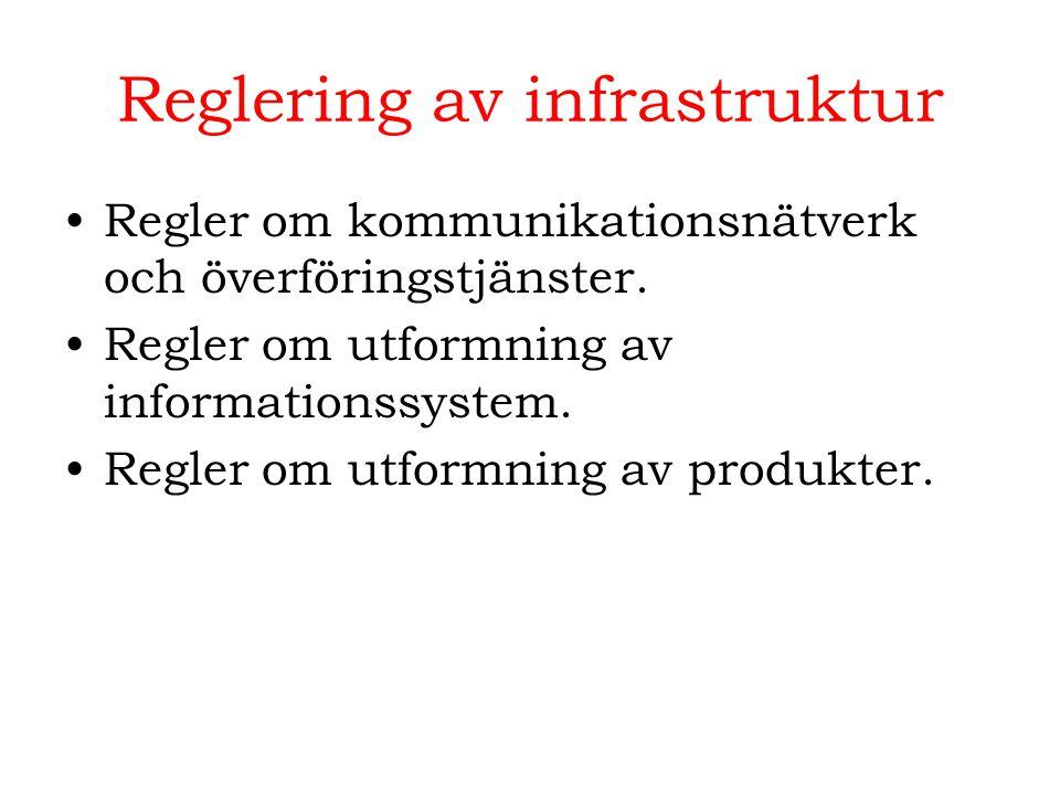 Reglering av infrastruktur Regler om kommunikationsnätverk och överföringstjänster. Regler om utformning av informationssystem. Regler om utformning a
