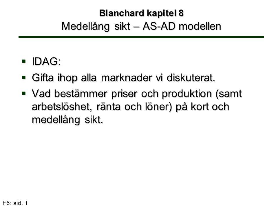 F6: sid. 1  IDAG:  Gifta ihop alla marknader vi diskuterat.  Vad bestämmer priser och produktion (samt arbetslöshet, ränta och löner) på kort och m