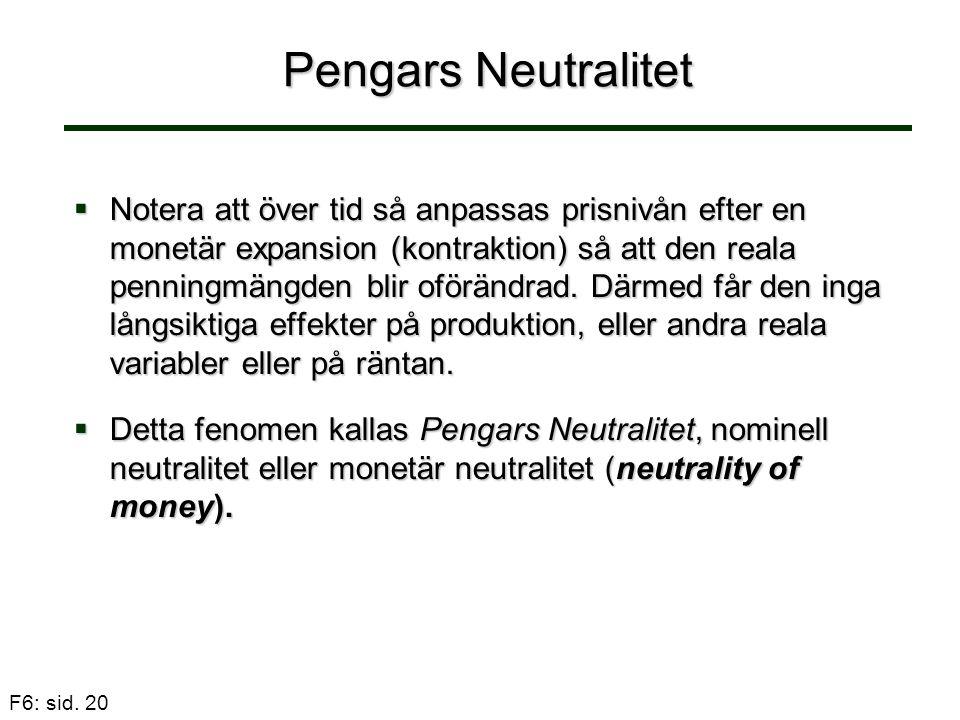 F6: sid. 20 Pengars Neutralitet  Notera att över tid så anpassas prisnivån efter en monetär expansion (kontraktion) så att den reala penningmängden b