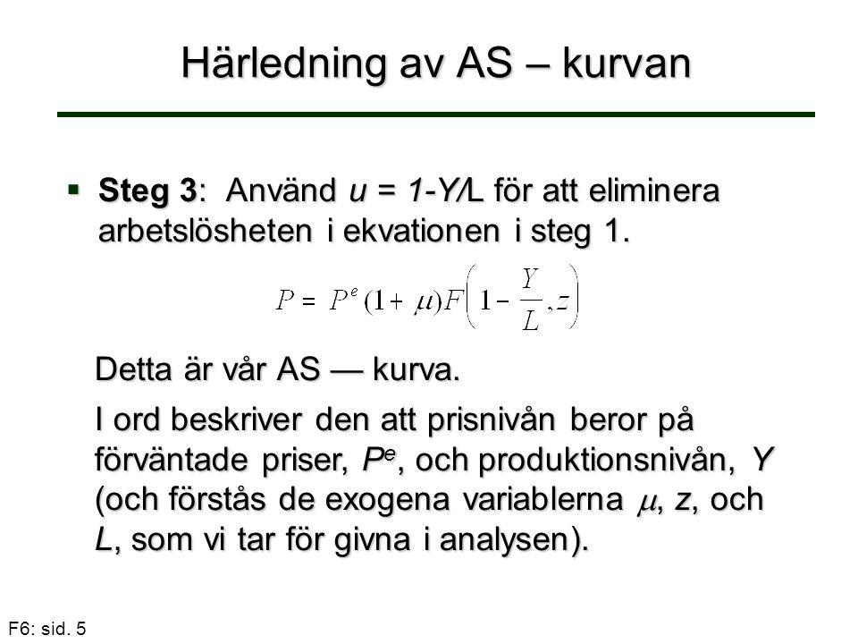 F6: sid. 5 Härledning av AS – kurvan  Steg 3: Använd u = 1-Y/L för att eliminera arbetslösheten i ekvationen i steg 1. Detta är vår AS — kurva. I ord