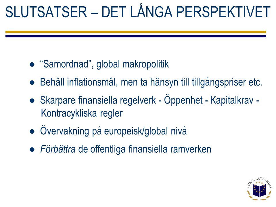 SLUTSATSER – DET LÅNGA PERSPEKTIVET ● Samordnad , global makropolitik ● Behåll inflationsmål, men ta hänsyn till tillgångspriser etc.