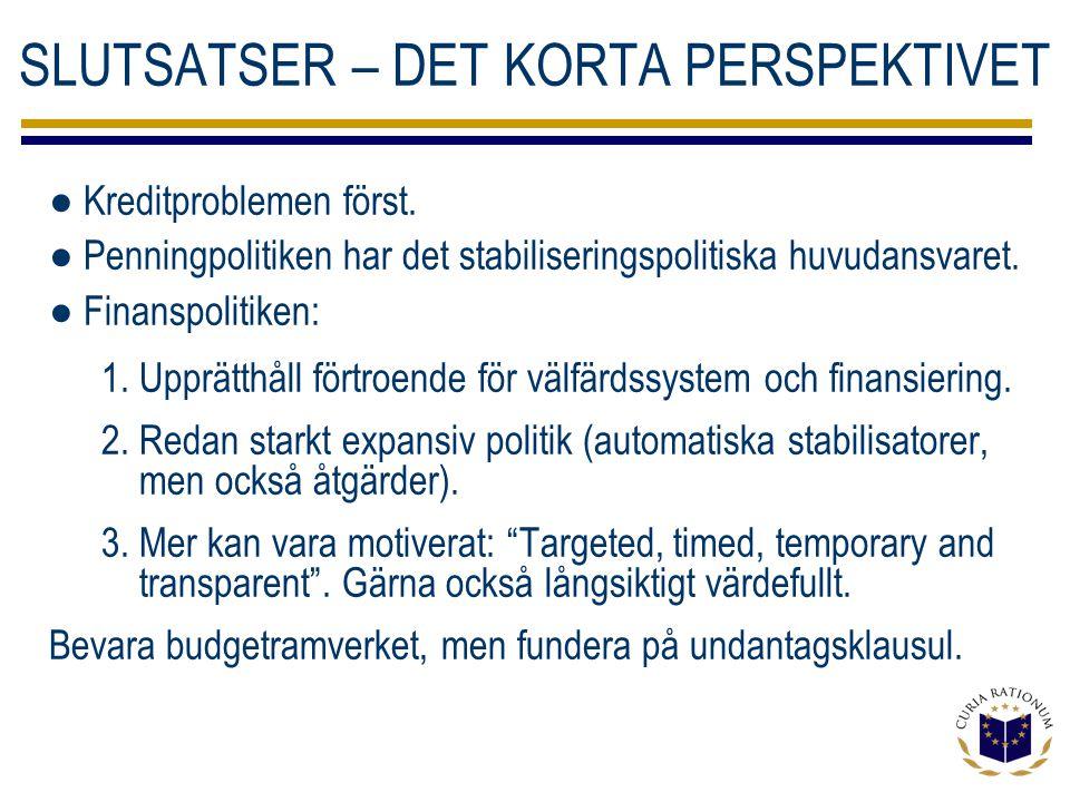 SLUTSATSER – DET KORTA PERSPEKTIVET ● Kreditproblemen först.