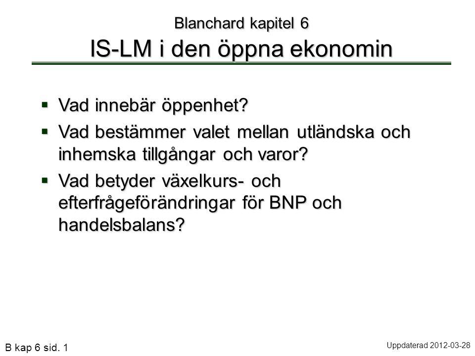 B kap 6 sid. 1 Blanchard kapitel 6 IS-LM i den öppna ekonomin  Vad innebär öppenhet?  Vad bestämmer valet mellan utländska och inhemska tillgångar o