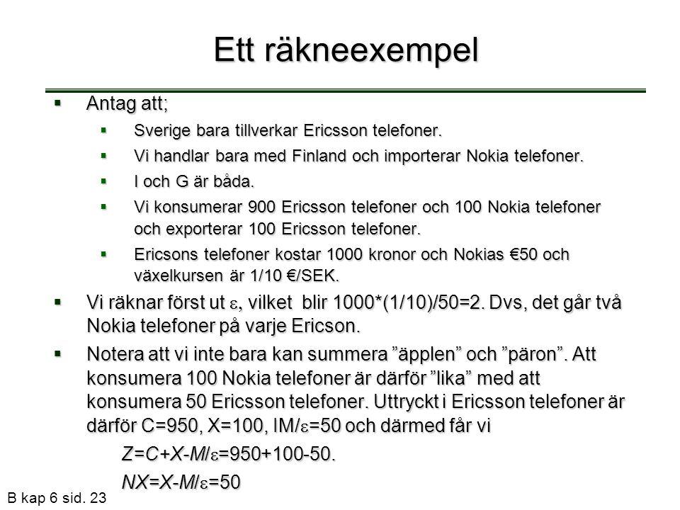 B kap 6 sid. 23 Ett räkneexempel  Antag att;  Sverige bara tillverkar Ericsson telefoner.  Vi handlar bara med Finland och importerar Nokia telefon