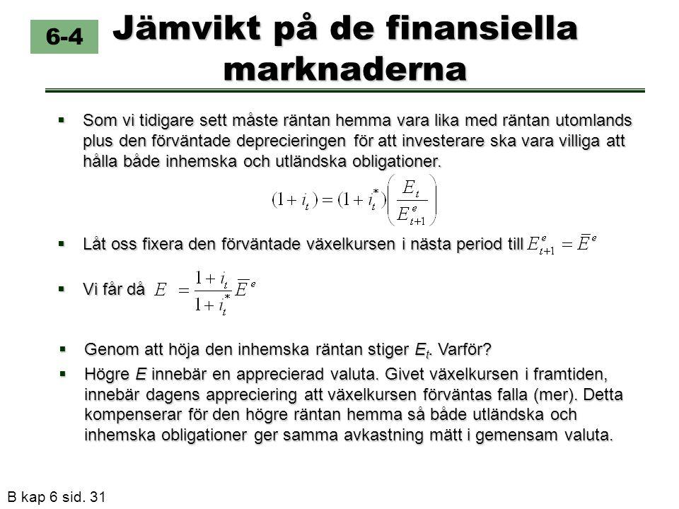 B kap 6 sid. 31 Jämvikt på de finansiella marknaderna  Låt oss fixera den förväntade växelkursen i nästa period till 6-4  Som vi tidigare sett måste