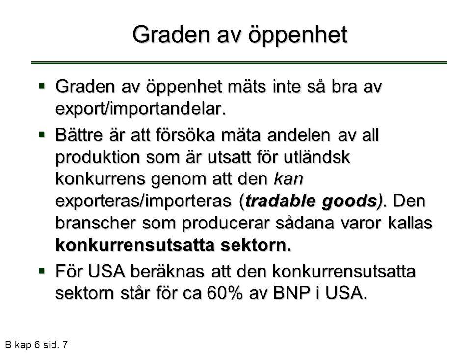B kap 6 sid. 7 Graden av öppenhet  Graden av öppenhet mäts inte så bra av export/importandelar.  Bättre är att försöka mäta andelen av all produktio