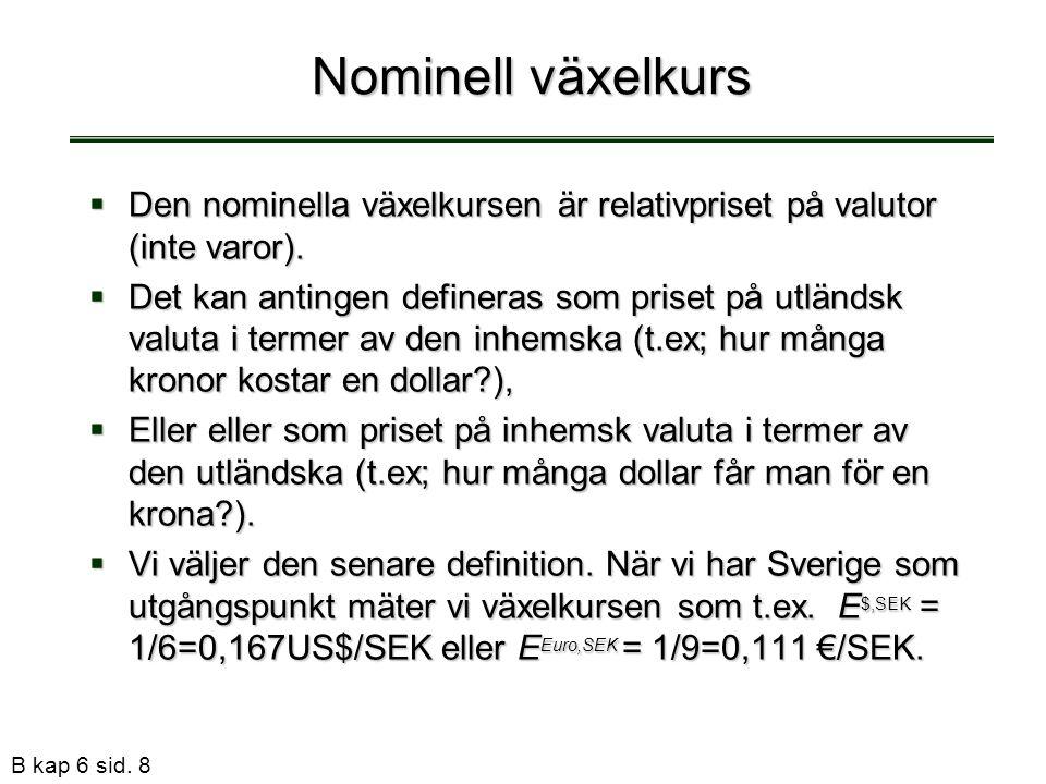 B kap 6 sid. 8 Nominell växelkurs  Den nominella växelkursen är relativpriset på valutor (inte varor).  Det kan antingen defineras som priset på utl
