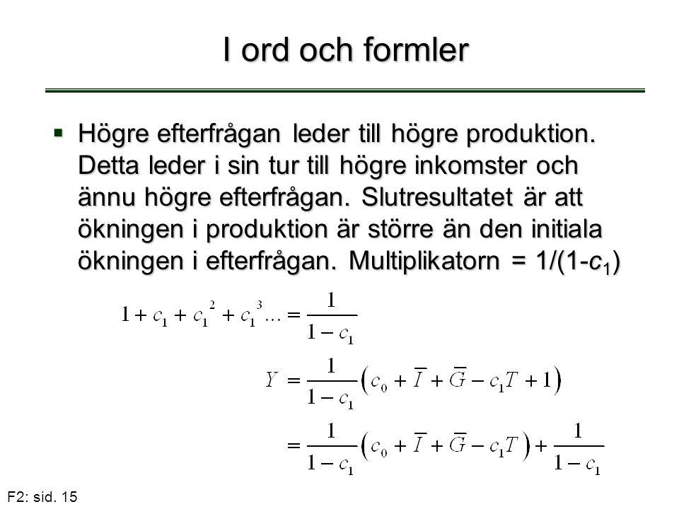 F2: sid. 15 I ord och formler  Högre efterfrågan leder till högre produktion. Detta leder i sin tur till högre inkomster och ännu högre efterfrågan.
