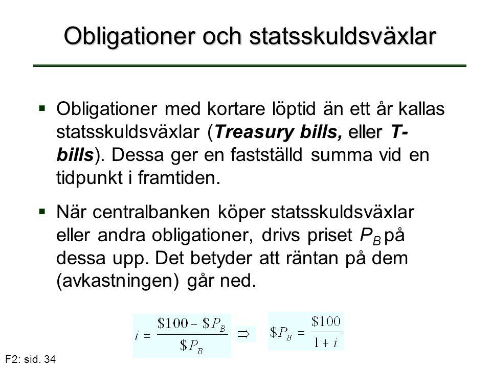 F2: sid. 34 Obligationer och statsskuldsväxlar  eller  Obligationer med kortare löptid än ett år kallas statsskuldsväxlar (Treasury bills, eller T-