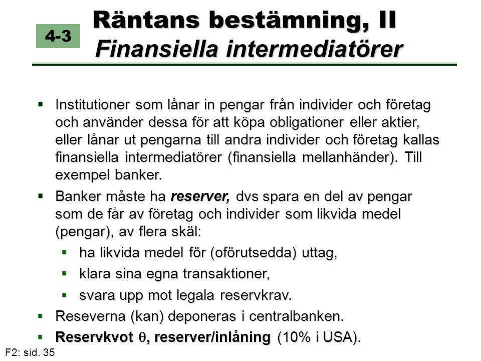 F2: sid. 35 Räntans bestämning, II Finansiella intermediatörer 4-3  Institutioner som lånar in pengar från individer och företag och använder dessa f