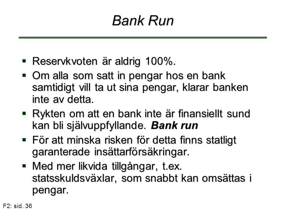 F2: sid. 36 Bank Run  Reservkvoten är aldrig 100%.  Om alla som satt in pengar hos en bank samtidigt vill ta ut sina pengar, klarar banken inte av d