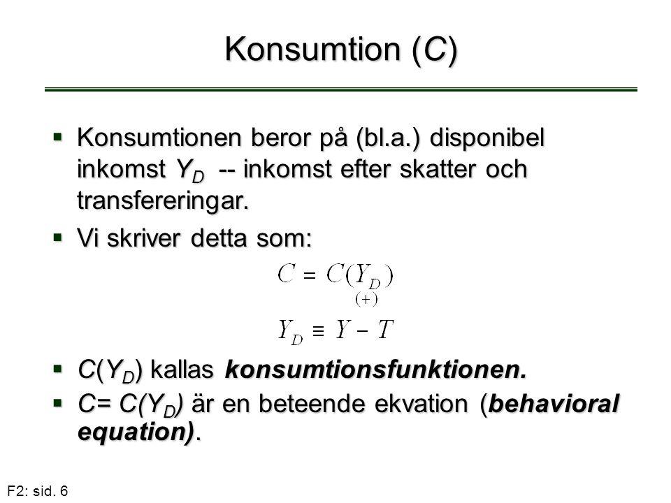 F2: sid. 6 Konsumtion (C)  C(Y D ) kallas konsumtionsfunktionen.  C= C(Y D ) är en beteende ekvation (behavioral equation).  Konsumtionen beror på