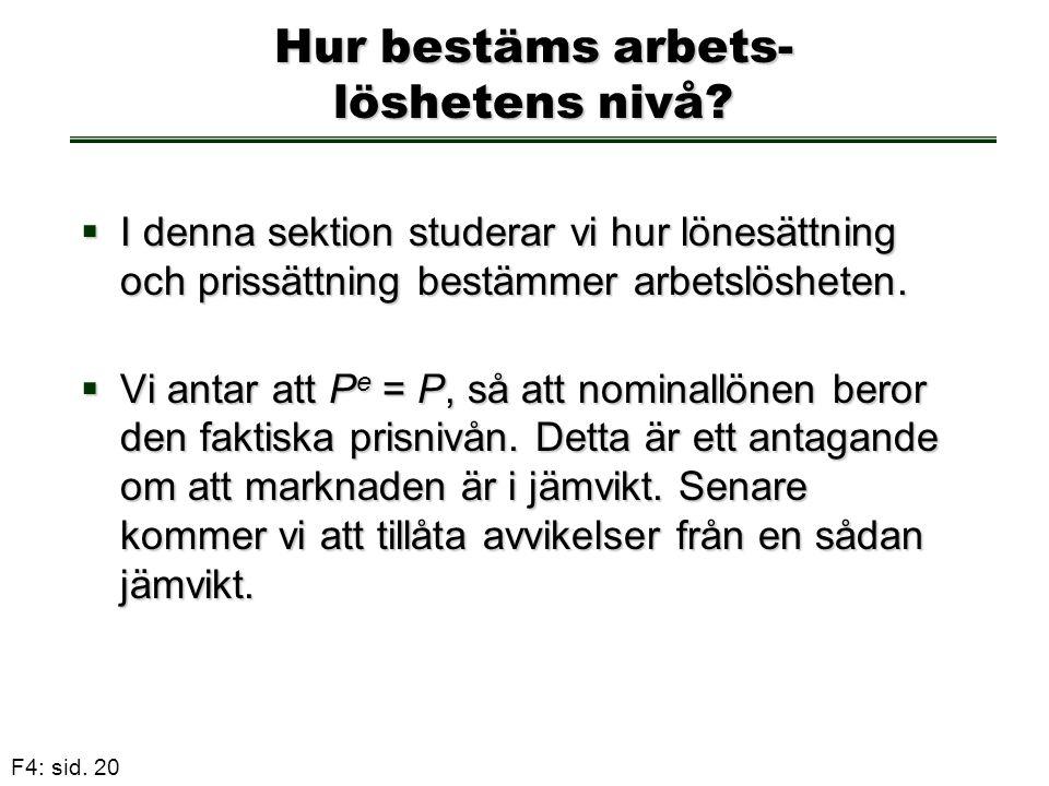 F4: sid. 20 Hur bestäms arbets- löshetens nivå?  I denna sektion studerar vi hur lönesättning och prissättning bestämmer arbetslösheten.  Vi antar a