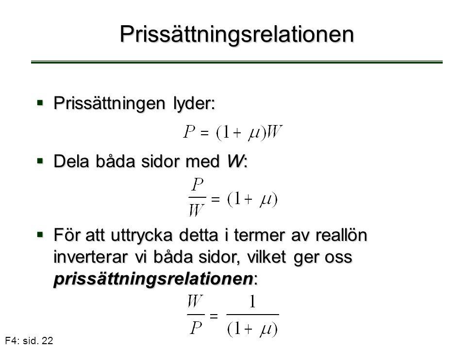 F4: sid. 22 Prissättningsrelationen  Prissättningen lyder:  Dela båda sidor med W:  För att uttrycka detta i termer av reallön inverterar vi båda s
