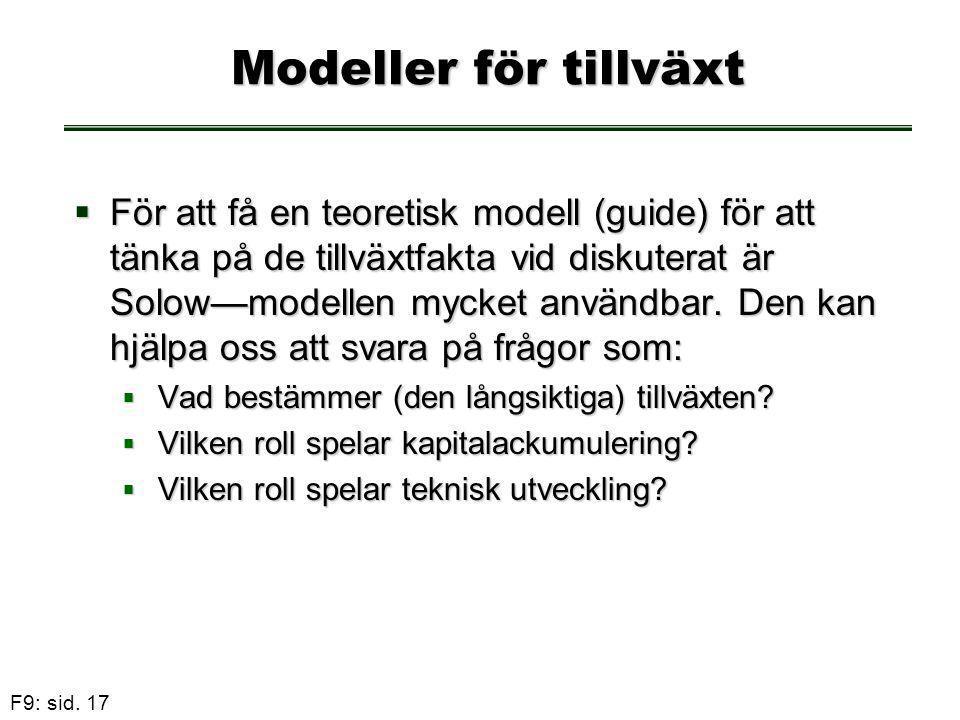 F9: sid. 17 Modeller för tillväxt  För att få en teoretisk modell (guide) för att tänka på de tillväxtfakta vid diskuterat är Solow—modellen mycket a