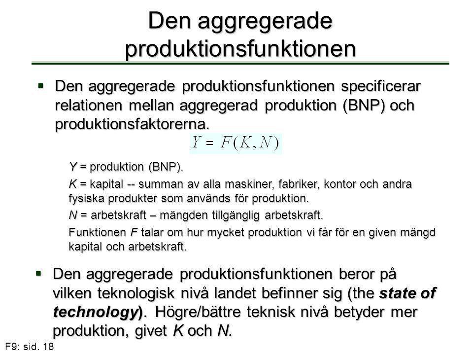 F9: sid. 18 Den aggregerade produktionsfunktionen  Den aggregerade produktionsfunktionen specificerar relationen mellan aggregerad produktion (BNP) o