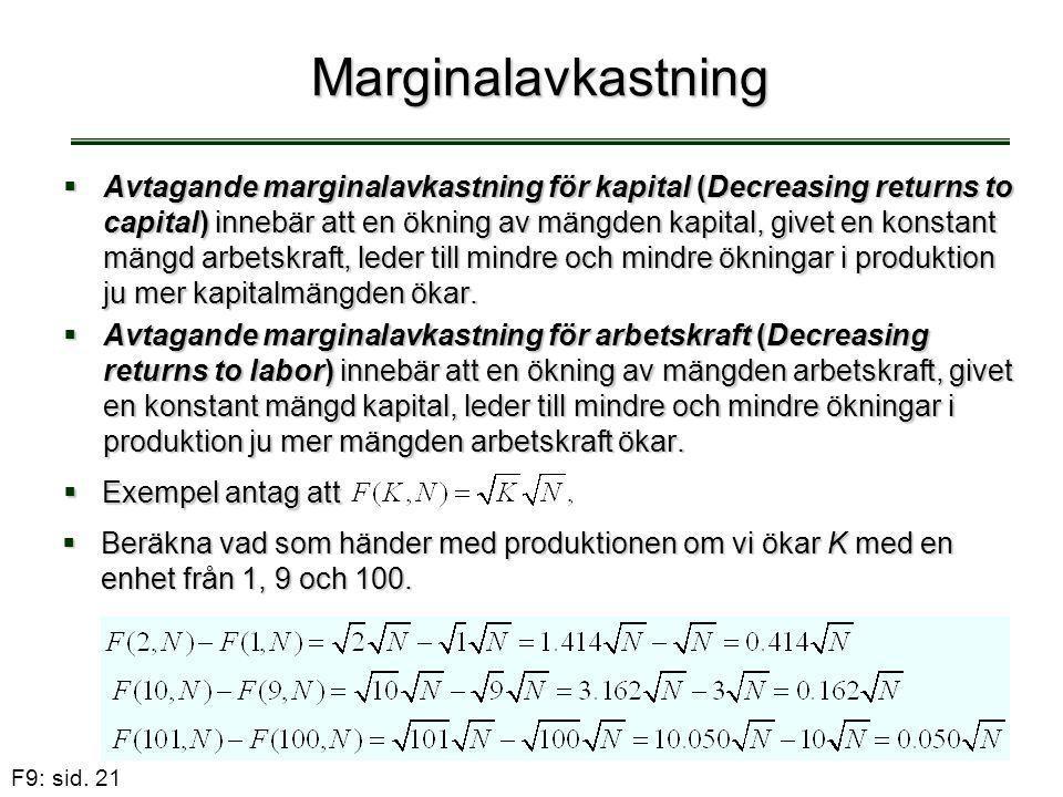 F9: sid. 21 Marginalavkastning  Avtagande marginalavkastning för kapital (Decreasing returns to capital) innebär att en ökning av mängden kapital, gi