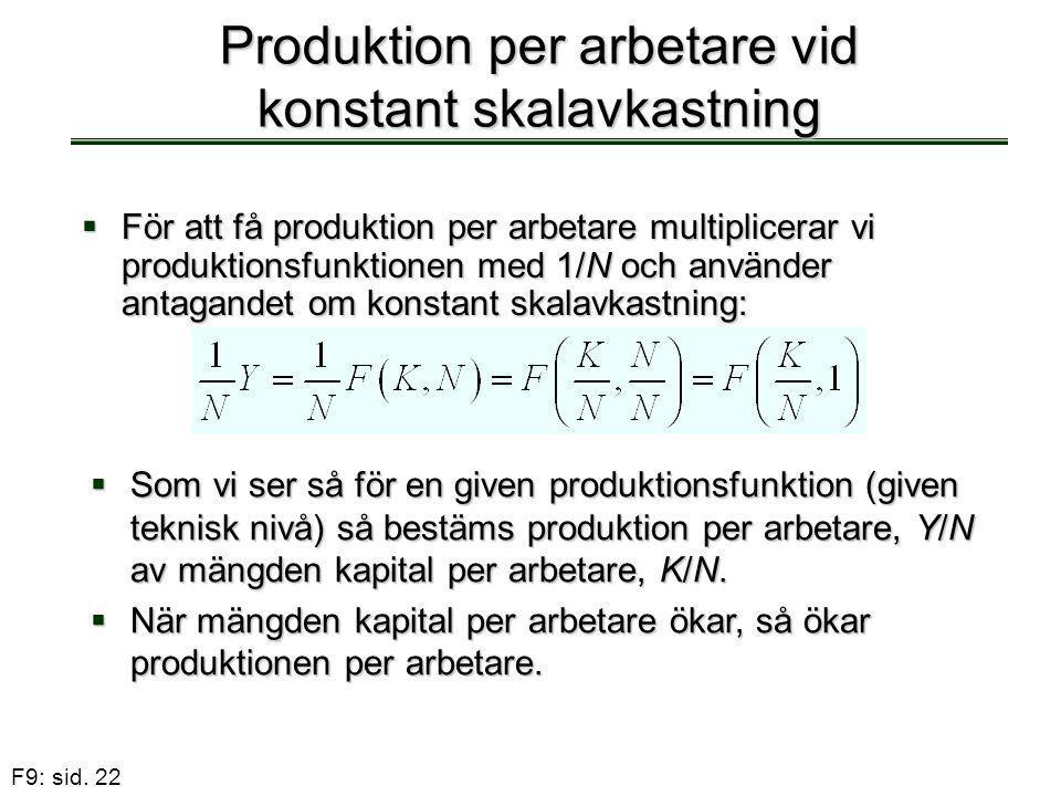 F9: sid. 22 Produktion per arbetare vid konstant skalavkastning  För att få produktion per arbetare multiplicerar vi produktionsfunktionen med 1/N oc