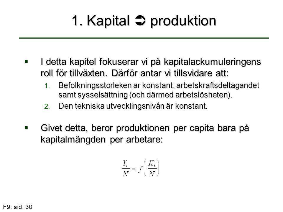F9: sid. 30 1. Kapital  produktion  I detta kapitel fokuserar vi på kapitalackumuleringens roll för tillväxten. Därför antar vi tillsvidare att: 1.
